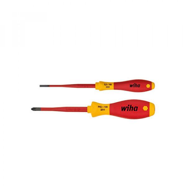 Набор отверток Wiha SoftFinish® electric slimFix 3,5x100, PH2x100, VDE