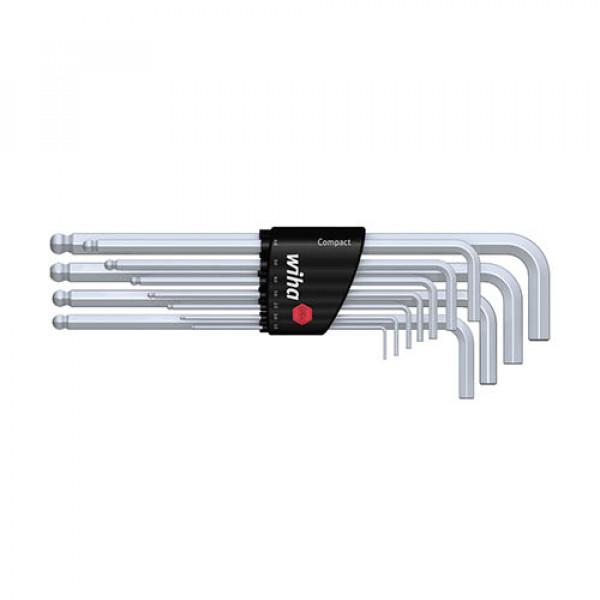 Набор штифтовых ключей(хромирование) со сф головкой в держ. Compact (11 предм.)