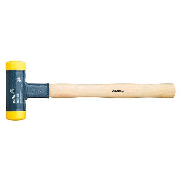 Молоток с мягким бойком, без отдачи, средней твёрдости с деревянной рукояткой, круглая ударная головка 02098