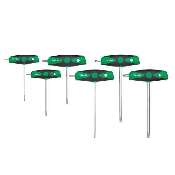 Набор штифтовых ключей с Т-образной рукояткой ComfortGrip TORX®, 6 предм., с боковой выходной частью, матовое хромирование