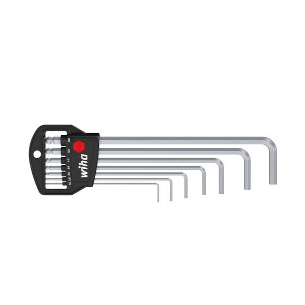 Набор штифтовых ключей в держателе Classic WI-01416 Шестигранник со сферической головкой, 7 предм., матовое хромирование